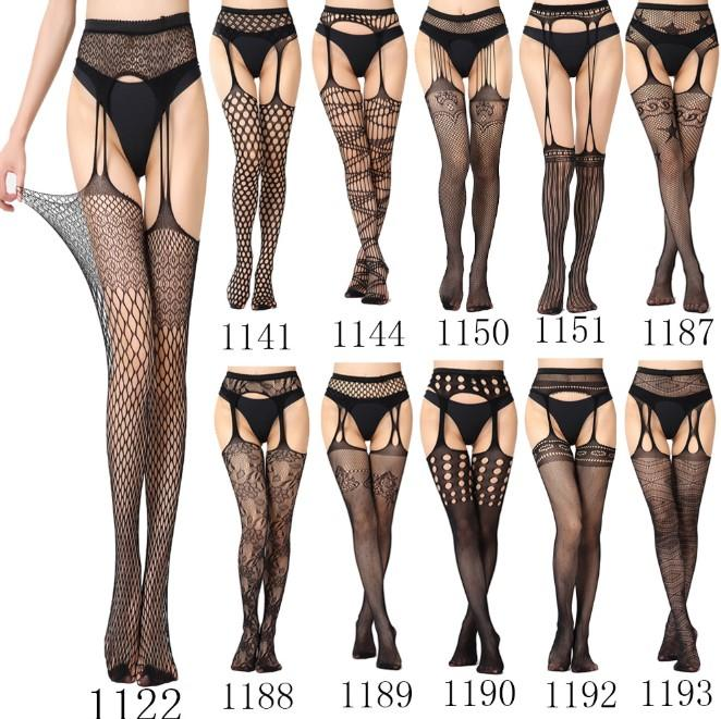 Sexy lingerie lace transparent straps stockings black sexy waist fishing net stockings garter belt for female