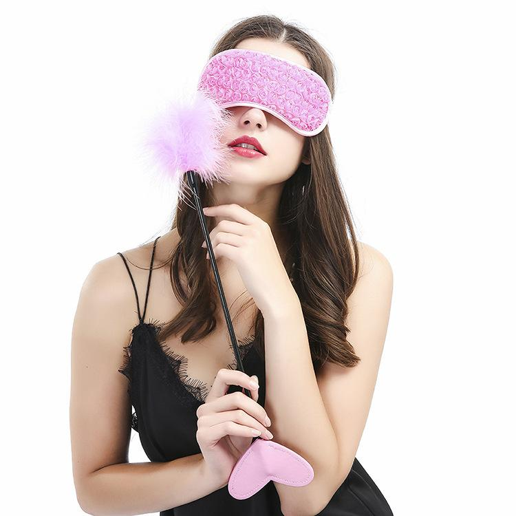 Pink Feather Sex Paddle Eye Mask Sex Fetish Bondage kit Sex Cosplay toys for women